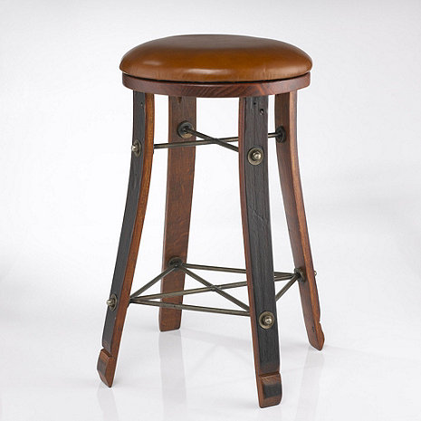 Vintage Oak Wine Barrel Round Bar Stool with Leather Seat