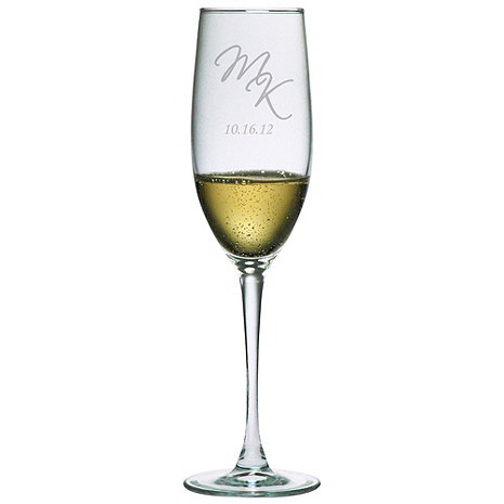 Personalized 8 oz Connoisseur Champagne Flutes (Set of 2) Script Initials & Date