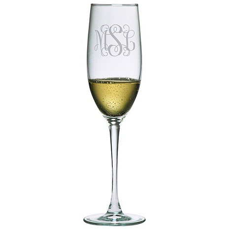 Personalized 8 oz Connoisseur Champagne Flutes (Set of 2) Three Letter Vine