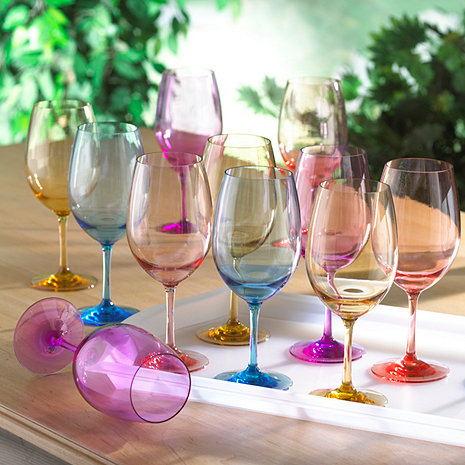 Indoor/Outdoor Mixed Color Wine Glass Party Pack (Set of 12)