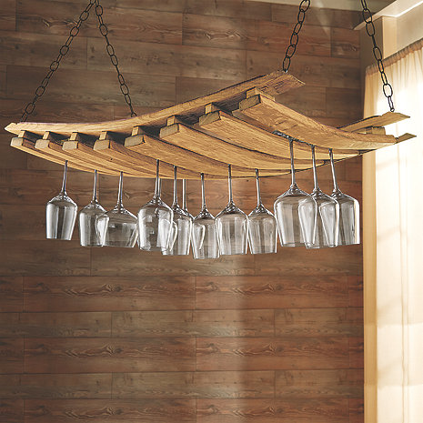 Barrel Stave Hanging Stemware Rack Wine Enthusiast