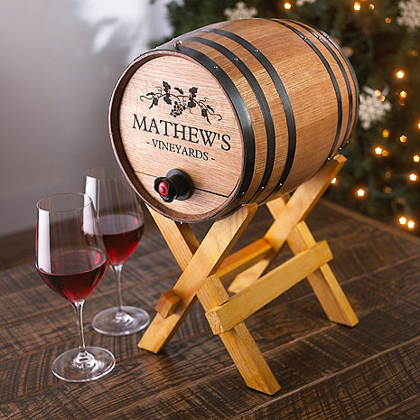 Personalized Boxed Wine Barrel Dispenser Wine Enthusiast