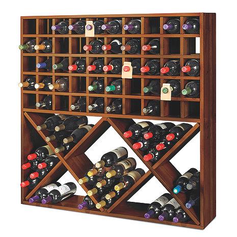 Jumbo Bin Grid 100 Bottle Wine Rack Walnut Wine Enthusiast