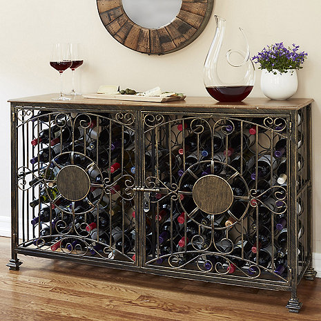 Personalized 84- Bottle Antiqued Steel Wine Jail Console