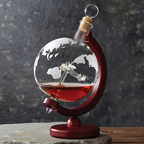 Globe Whiskey Decanter with Antique Plane
