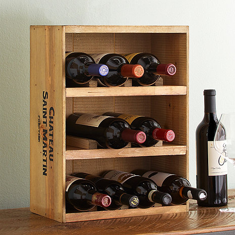 crate wine rack 12 bottle wine crate rack wine enthusiast 30215