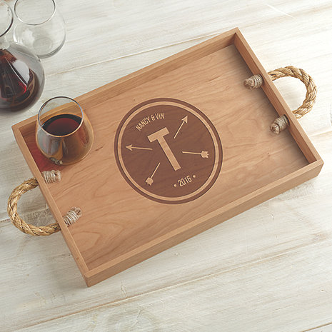 Personalized Crate Tray with Rope Handles