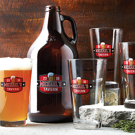 Personalized Growler & Pint Glasses Set