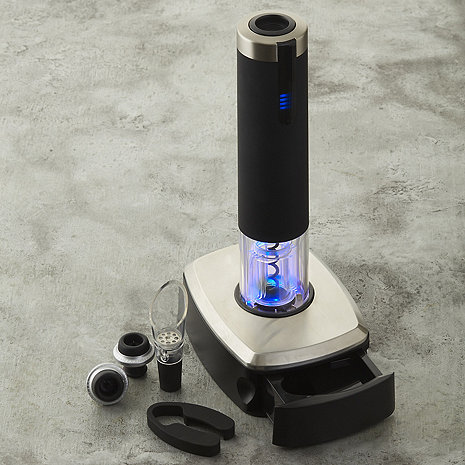 Electric Blue 1 Automatic Wine Opener & Preserver Set with Pedestal