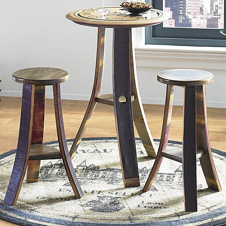 Personalized Deep Carved Pub Table with Two Stools