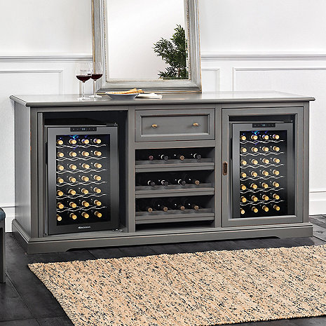 Siena Wine Credenza (Antique Gray) with Two Wine Refrigerators