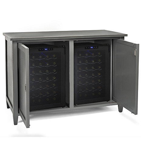 Firenze Mezzo Wine and Spirits Credenza with Two 28 Bottle Touchscreen Wine Refrigerators (Antique Grey)
