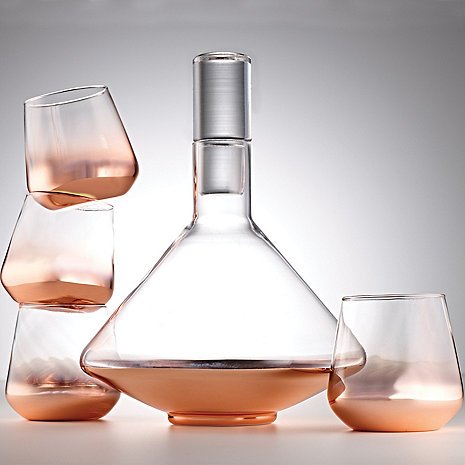Rose Gold Metallic Decanter and Tumblers 5-Piece Set