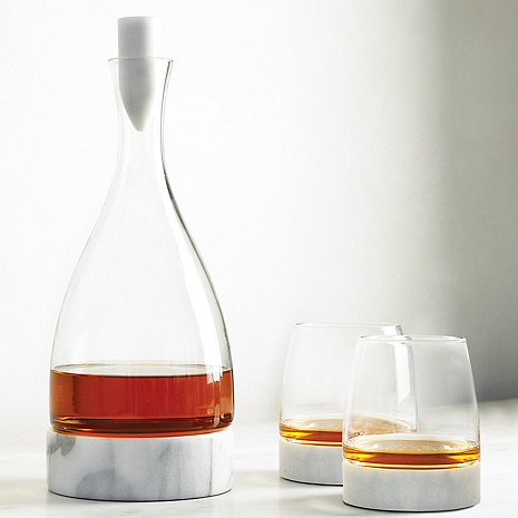 Stone Cold Decanter Tumblers And Marble Coasters Set