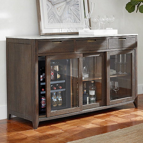 Amador Sliding Glass Door Credenza With Wine Refrigerator