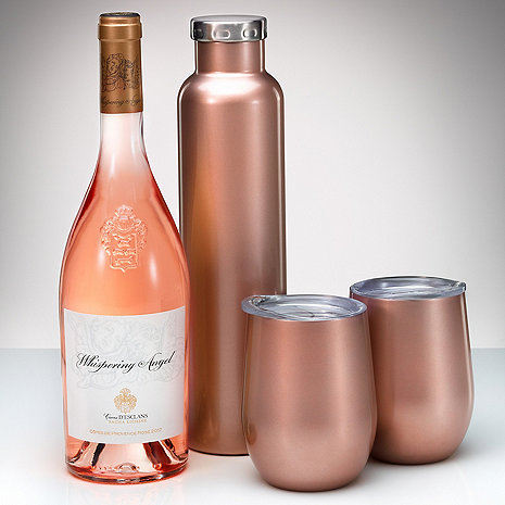 Three-Piece Insulated Rose Gold Wine Carafe And Tumbler Set