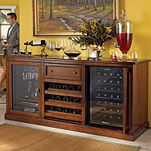 Siena Wine Credenza with 28 Bottle Wine Refrigerators
