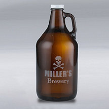 Personalized Growler with Skull and Crossbones