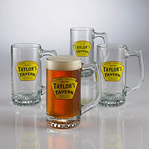 Personalized Yellow Tavern Tankard Glasses (Set of 4)