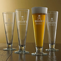 Personalized Skull and Crossbones Pilsner Glasses (Set of 4)