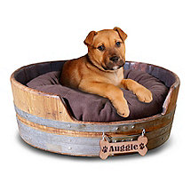 Personalized Wine Barrel Pet Bed Small