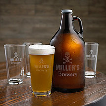 Personalized Skull & Crossbones Growler & Beer Glasses Set