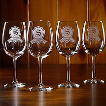 Personalized Shield Wine Glasses (Set of 4)