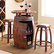 Vintage Oak Wine Barrel Bistro Table & Bar Stools