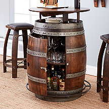 Wood barrel furniture Wine Barrel End Vintage Oak Wine Barrel Bistro Table Bar Stools whiskey Finish Wine Enthusiast Wine Barrel Furniture Wine Enthusiast