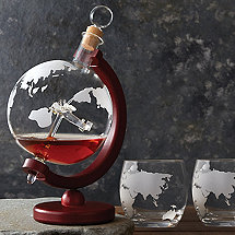 Globe Whiskey Decanter with Antique Plane & Glasses Set