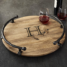 Personalized Lazy Susan with Iron Rails