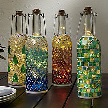 Wine Bottle Mosaic Lanterns (Set of 4)