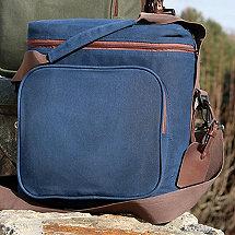 6-Bottle Waxed Canvas Weekend Wine Bag (Blue)