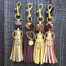 Wine Barrel And Leather Tassel Keychain