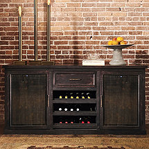 Montagny Brass Mesh Credenza With Two Wine Refrigerator