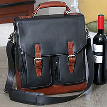 3 Bottle Leather BYO Wine Bag (Charcoal)