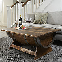 Reclaimed Wine Barrel Coffee Table With Unique Lift-Top
