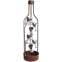 Wine Bottle Shaped Fountain with Tiered Wine Glasses