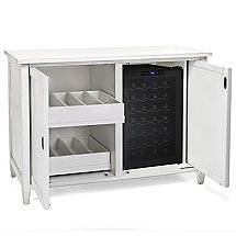 Firenze Mezzo Wine and Spirits Credenza with 28 Bottle Touchscreen Wine Refrigerator (Antique White)