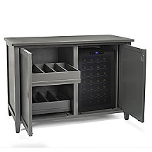 Firenze Mezzo Wine and Spirits Credenza with 28 Bottle Touchscreen Wine Refrigerator (Antique Grey)