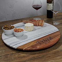 Marble And Acacia Wood Lazy Susan