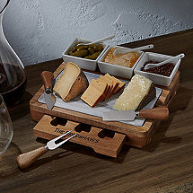 Marble And Acacia Wood Cheese Board Set With Ceramic Bowls And Knives