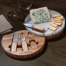 Marble And Live Edge Acacia Wood Cheese Board Set With Knives