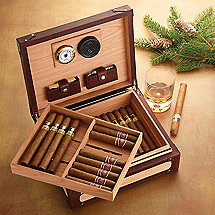 Spanish Cedar Cigar Humidor with Leather Accents