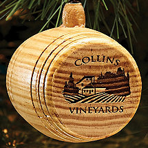 2018 Personalized Wine Barrel Vineyard Ornament