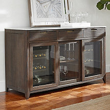 Amador Sliding Glass Door Credenza With Two Wine Refrigerators