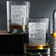 Personalized Etched Family Reserve Glasses (Set of 2)