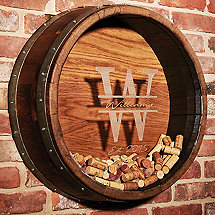 Personalized Reclaimed Wine Barrel Head Cork Collectors Display