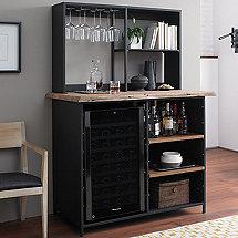 Morgon Live Edge Metal And Wood Wine Bar With Refrigerator