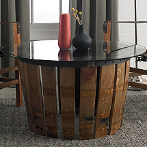 Mendoza Barrel Stave Coffee Table with Glass Top